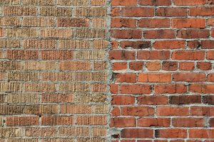 brick photo two toned half side red yellow stock wallpaper