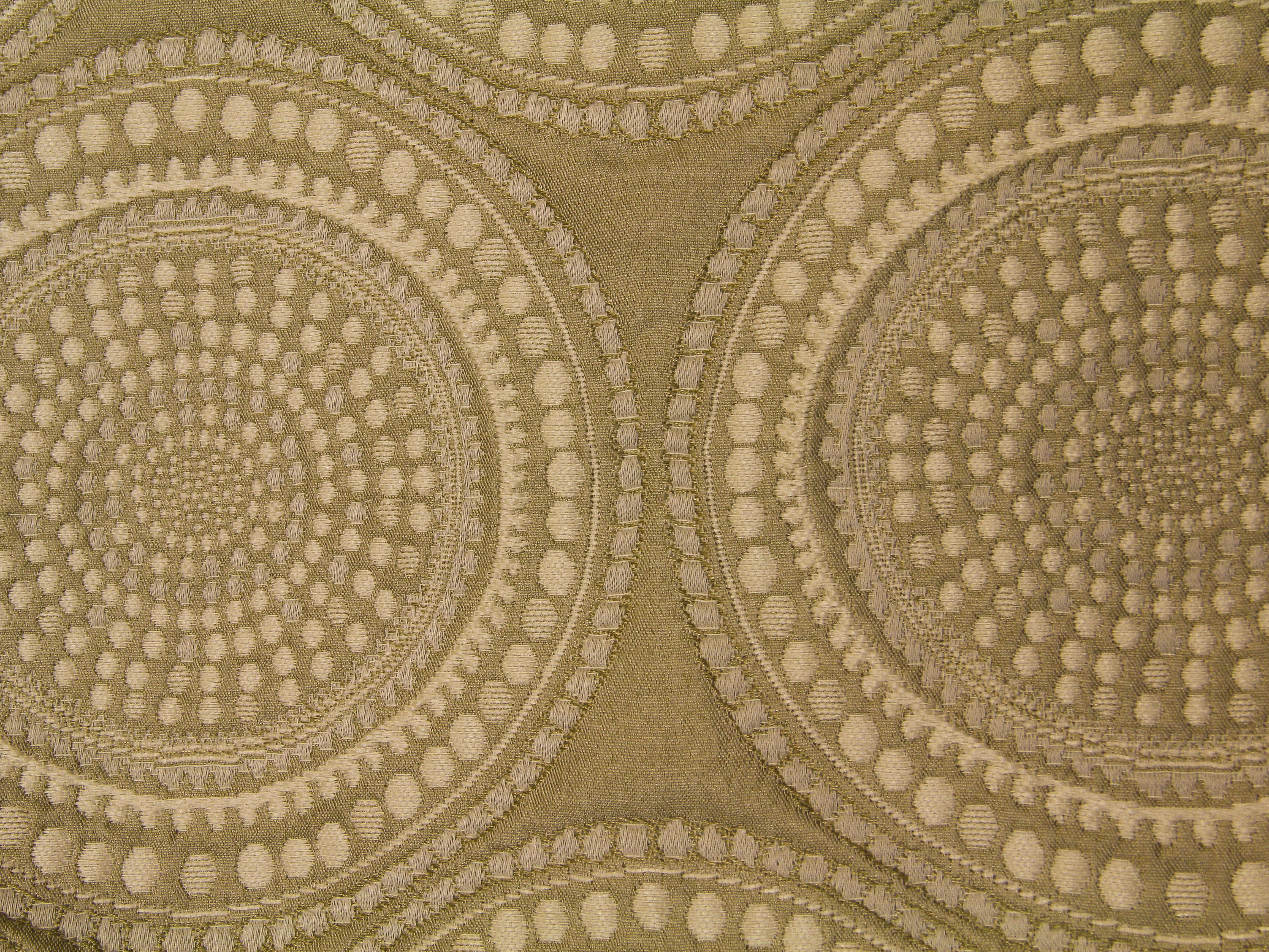 Fabric Texture Circle Pattern Print Coffee Color Vintage