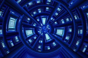 fractal texture tron zoom tunnel tech futuristic blue white abstract portal