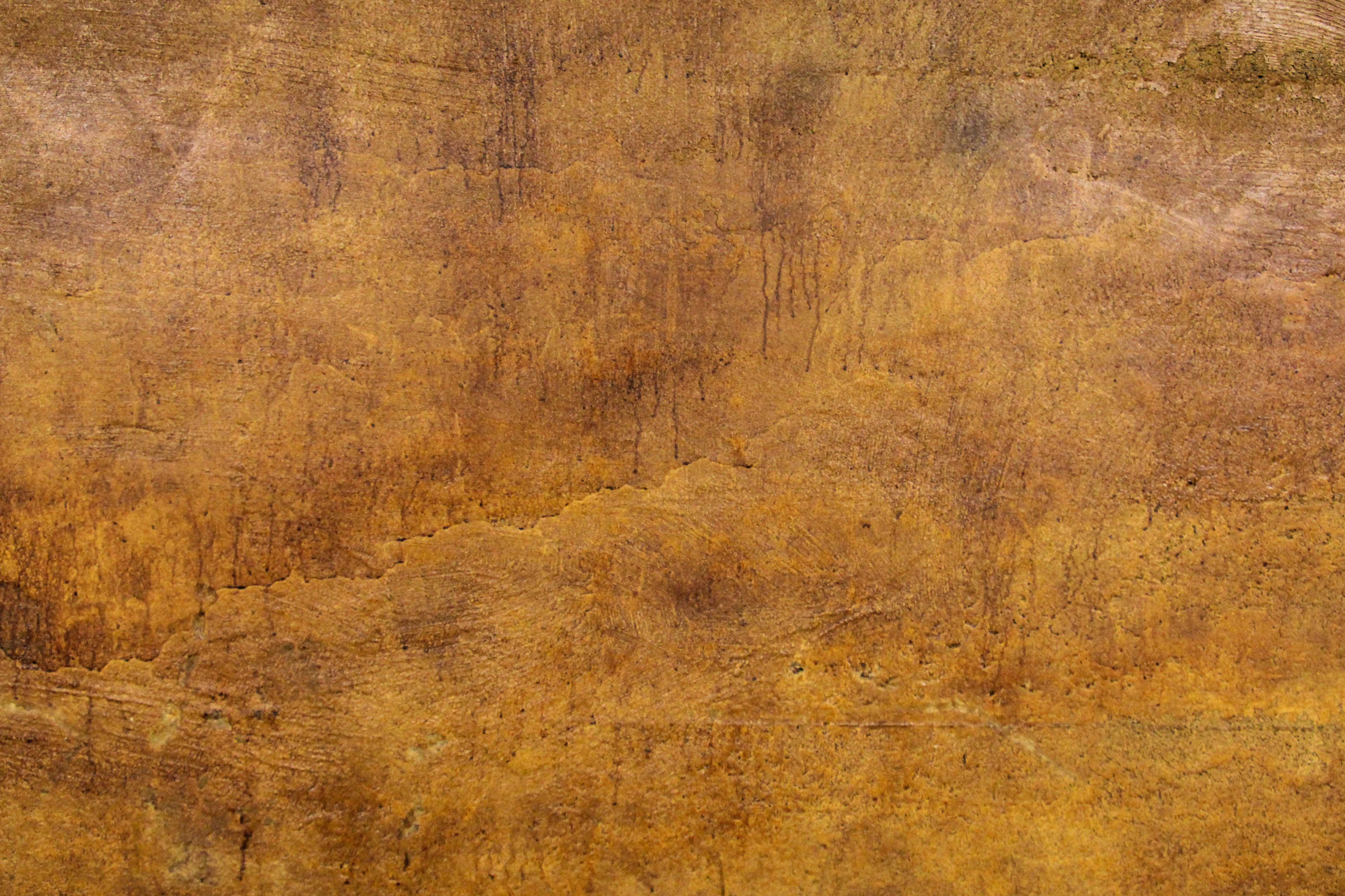 Orange Cement Wall : Grunge texture dripping stained concrete wall orange brown